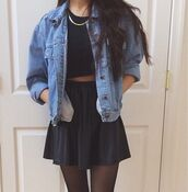 dress,jacket,shirt,indie,navy,gold chain,skirt,crop tops,tights,cute,flowy,denim jacket,top,grunge,on point,on point clothing,chain,black crop top,black skirt,tumblr outfit,black,tank top,coat,jeans,blue,blue jacket,80s style,used look,fashion,hipster,tumblr,denim,crop,necklace,style,trendy,socks,oversized,loose,women's,teenagers,blue denim,noir,blouse,leather skirt