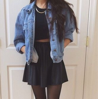 dress jacket shirt indie navy gold chain skirt crop tops tights cute flowy denim jacket vintage black black pleated skirt pleated outfit black crop top gold necklace jean jackets black skirt