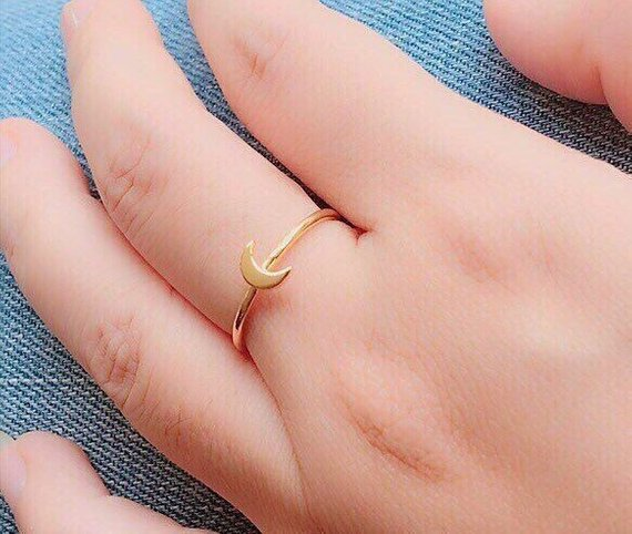 Crescent Ring - Moon Ring - Stackable Ring - Tiny Ring - Minimalist Jewelry