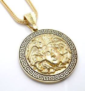 """Amazon.com: Chris Brown's Hip-Hop Bling Medusa Head Gold Tone 2 Chainz Pendant with Free 36"""" chain (2): Everything Else"""