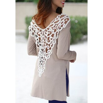 top lace white grey fashion style cute girly fall outfits summer casual embroidered clothes feminine open back long shirt