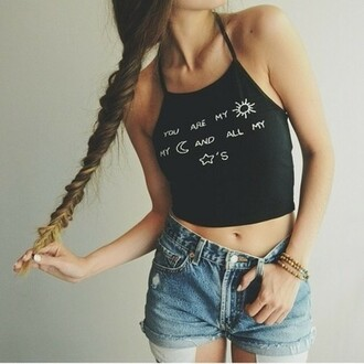 top black cropped crop tops quote on it moon stars sun sunshine tumblr shirt tumblr outfit tumblr internet love boho bohemian grunge hipster lace white bw outfit girl hairstyles brandy melville