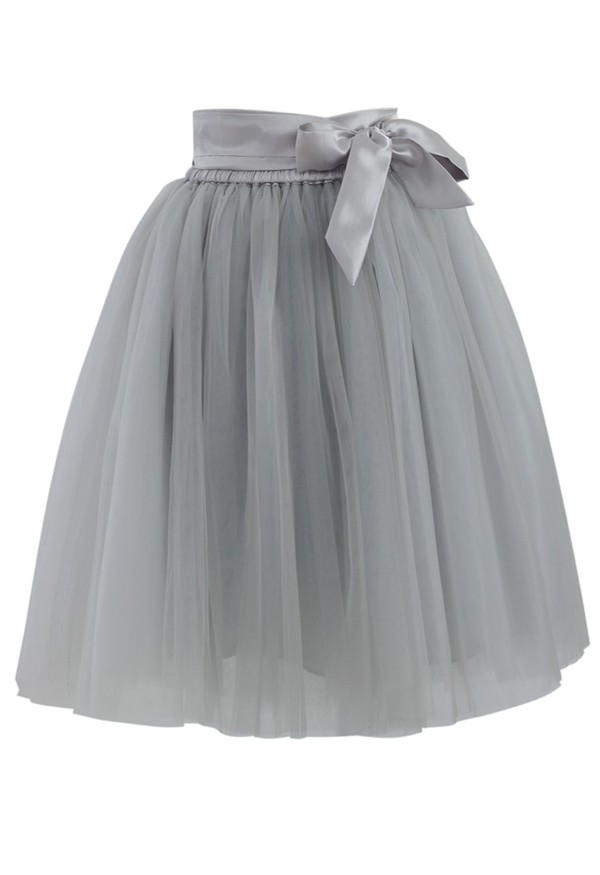 skirt chicwish amore tulle skirt grey