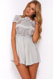 dress,romper,jumpsuit,light grey,lace dress,crochet dress,white romper