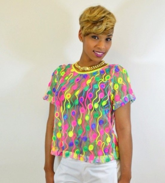 T shirt neon bright mesh see through wheretoget for Neon coloured t shirts
