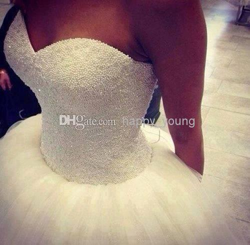 Cheap Wedding Invitations - Discount Pearls Sweetheart Floor Length Tulle Ruffles Backless Ball Online with $272.39/Piece | DHgate