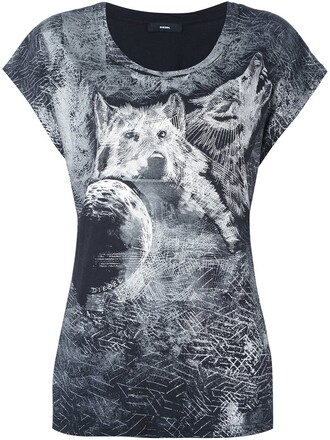 t-shirt shirt wolf print black top