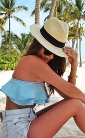 swimwear,ruffled bikini,blue bikini,ruffle trim bikini,shorts,blue shorts,denim shorts,hat,straw hat,sunglasses