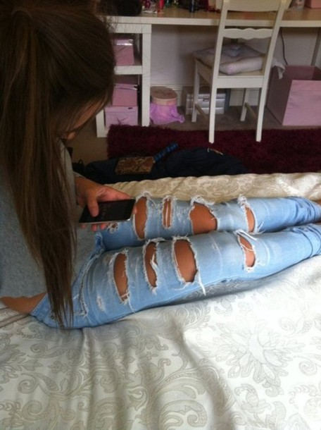 Jeans ripped jeans holes sweater pants acid wash denim ripped blue jeans girl bright ...