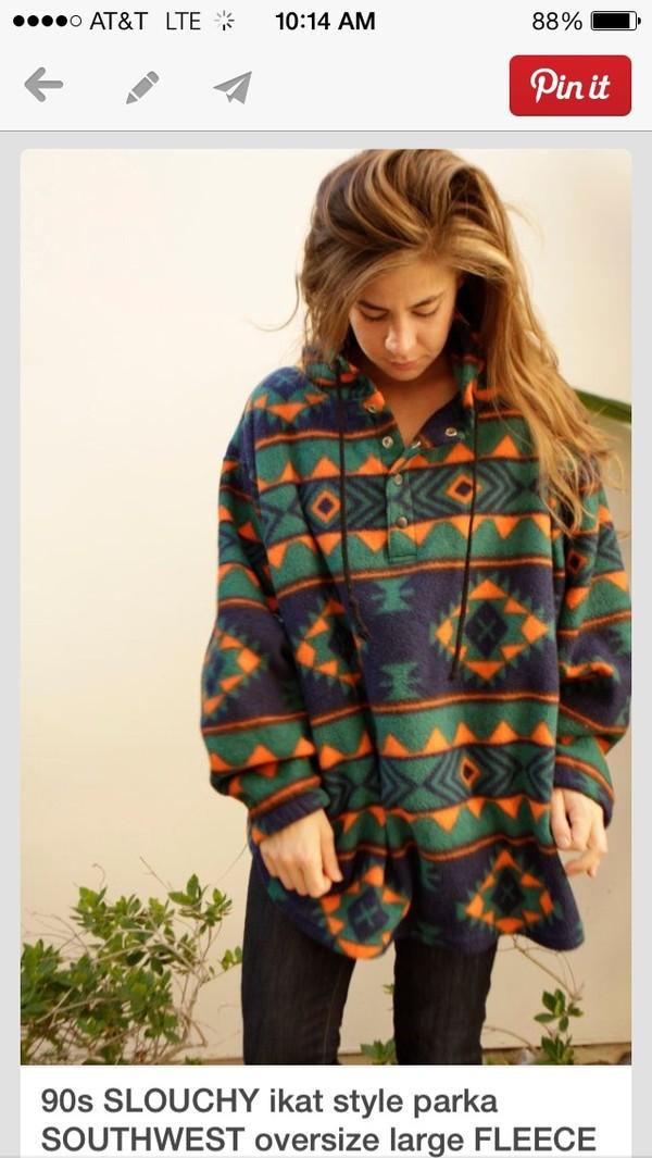 jacket clothes oversized jacket patterned sweater sweater tribal pattern pattern comfy oversized colorful boho geometric hoodie top sweatshirt aztec fleece lining fall sweater summer top style tribal pattern trendy vintage printed sweater fleece jackets green orange forest green