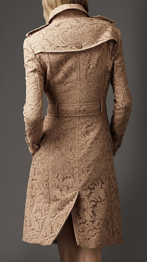 coat trench coat tan.lace lace coat love long jacket trench coat lace beige nude burberry