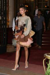 dress,ruffle,ruffle dress,pumps,zendaya,Paris Fashion Week 2017,fashion week 2017,shoes