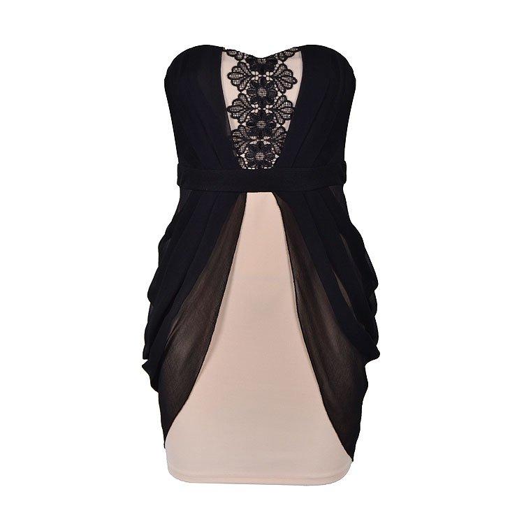 APPLIQUE DRAPE SIDE DRESS - Ally Fashion