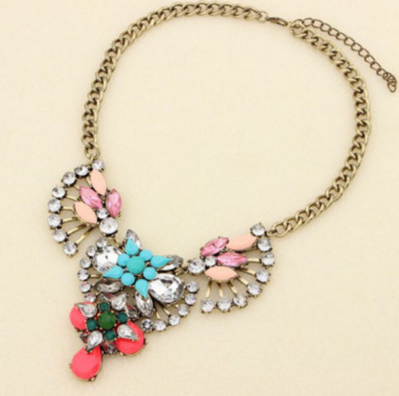 gold jewels chain gem necklace colorful rhinestone necklace rainbow statement necklace retro vintage glam