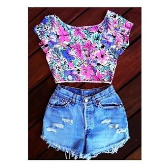 floral shirt crop tops top