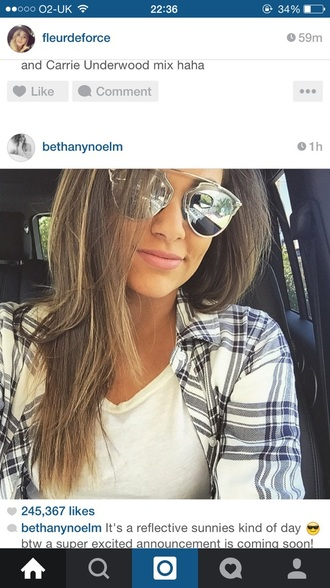 sunglasses youtuber shirt plaid shirt top dior so real silver sunglasses bethers bethany mota