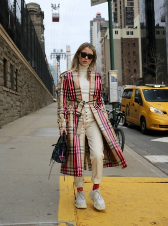 coat tartan coat white jeans top turtleneck sneakers white sneakers trench coat burberry jeans