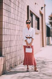 hallie daily,blogger,jacket,dress,shoes,bag,jewels,sunglasses,belt,gucci belt,white blazer,blazer,fall outfits,spring outfits,wedges,red dress