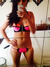 swimwear,multi color swimsuit,orange,pink,pink swimwear,fashion swimsuit,orange swimwear,multicolor swim top