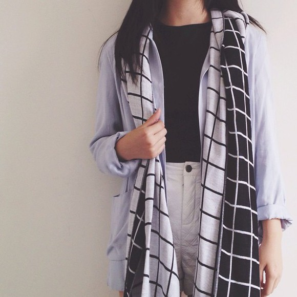 urban outfitters black and white scarf winter outfits checkered