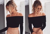 shirt,black,long sleeves,strapless,skirt,nude,suede skirt,brown,beige,off the shoulder,top,bardot,party,blouse