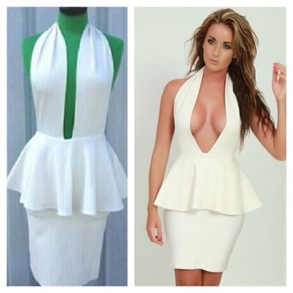 dress peplum dress white peplum dress
