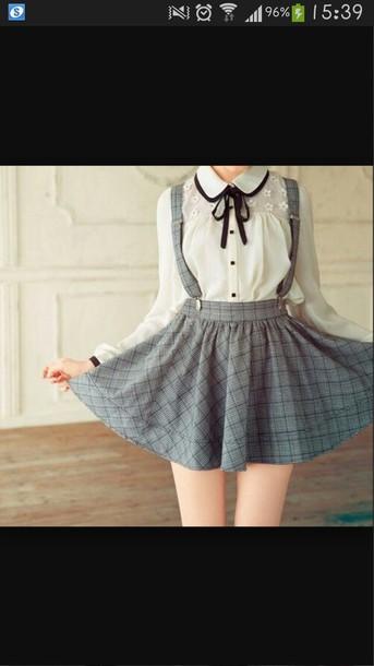 skirt japanese grey skirt cute cute skirt