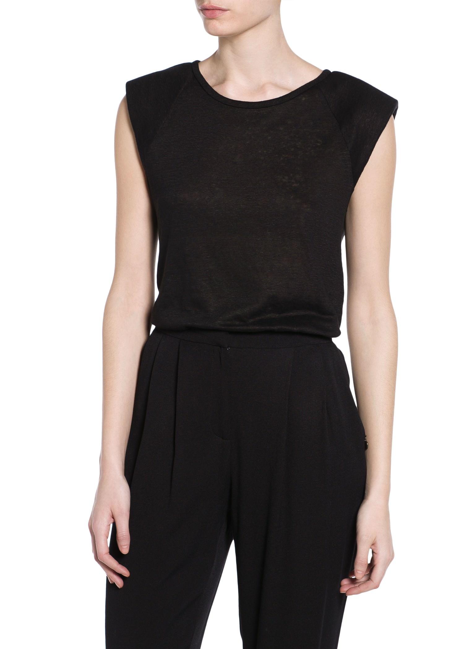 Leinen-t-shirt mit polstern - T-shirts und oberteile für Damen | MANGO