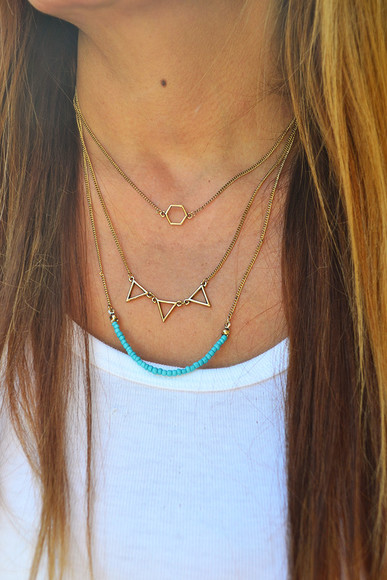 jewels simple layered necklace pyramids triangle turquoise turquoise jewelry boho bohemian bohemian necklace