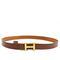 Hermès thin brown leather belt w/ gold logo buckle