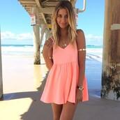 dress,coral,summer dress,summer outfits,skater dress,swing dress,summer,coral dress,peach