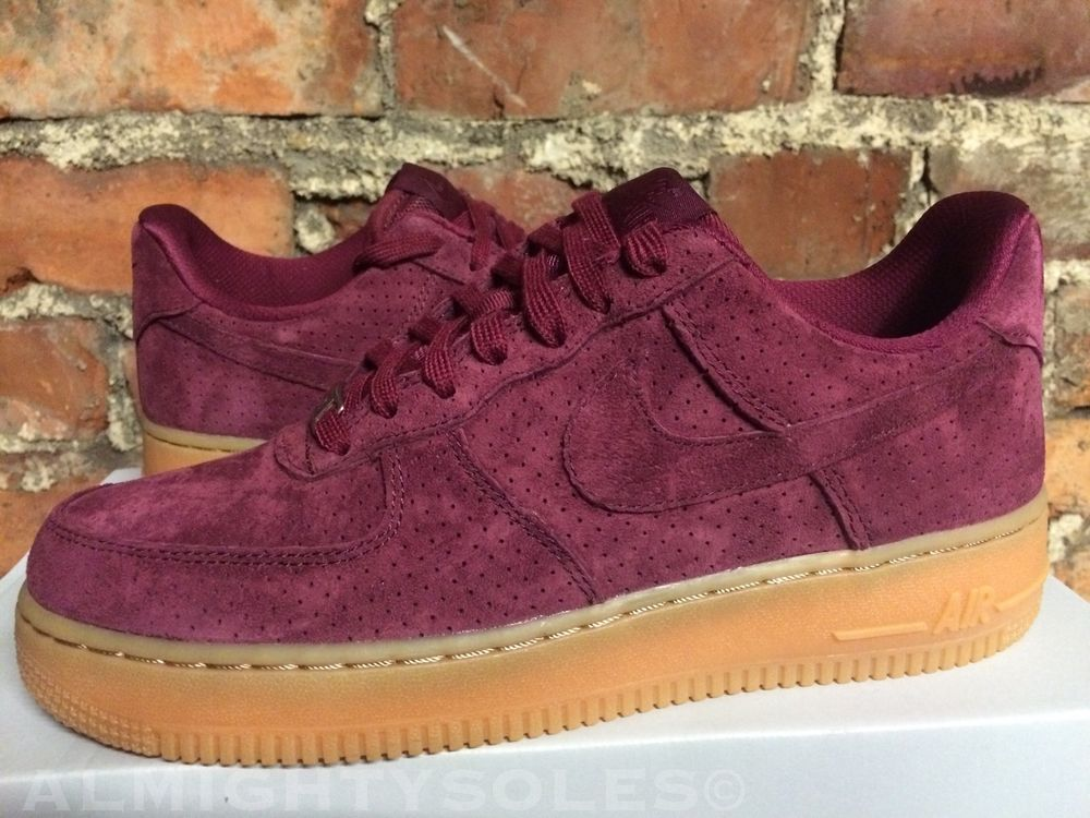 Womens Nike Air Force 1  07 Suede Deep Garnet Gum UK7 EUR41 ... 994f7f1136