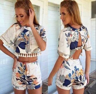 romper haute rogue two-piece leaf print pom pom summer romper white two piece leaf