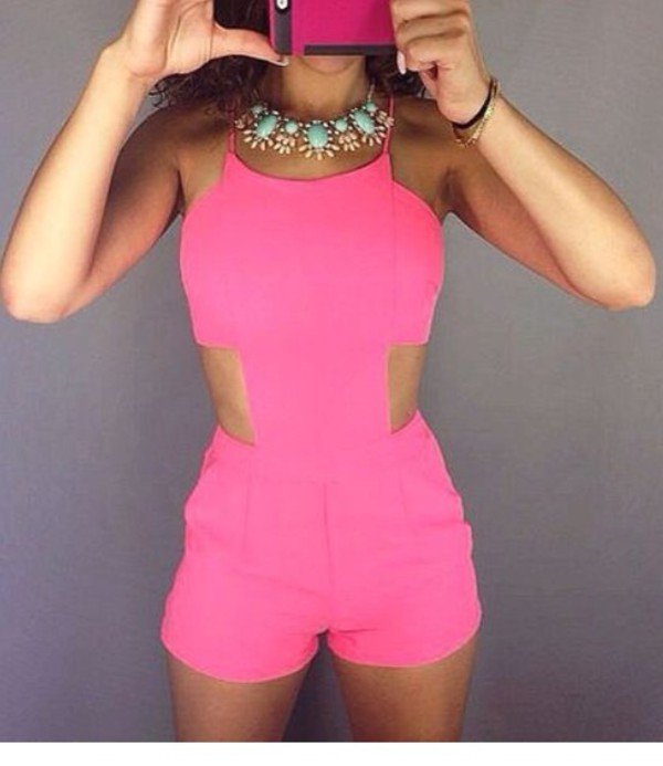 romper pink summer outfits hot one piece cute cute dress dress cute outfits cut out crop top