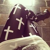 pants,black,white,fashion,style,cross,rock,shoes