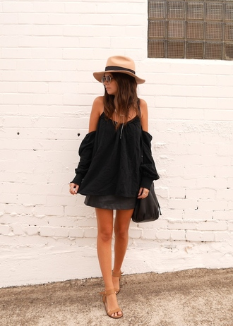 spin dizzy fall blogger hat summer outfits off the shoulder sandals black skirt