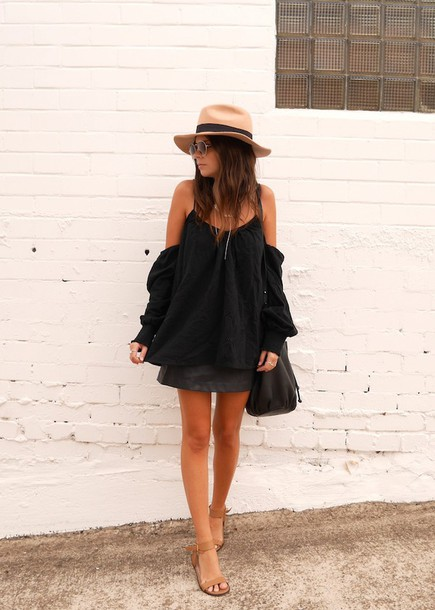 spin dizzy fall blogger hat summer outfits off the shoulder sandals black skirt top sunglasses skirt jewels shoes