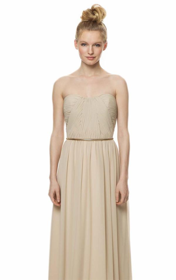 2014 new stylish chiffon bridesmaid dresses with gold belt