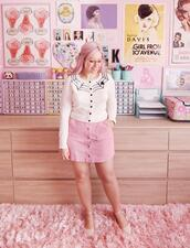 scathingly brilliant,blogger,sweater,skirt,shoes,tights,pink skirt,button up skirt
