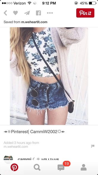 top crop tops floral tank top tank top high waisted shorts denim shorts acid wash summer top summer shorts shorts