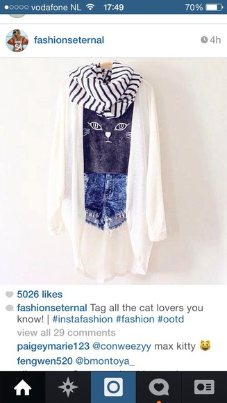 blue cute want want want cat shirt white cardigan