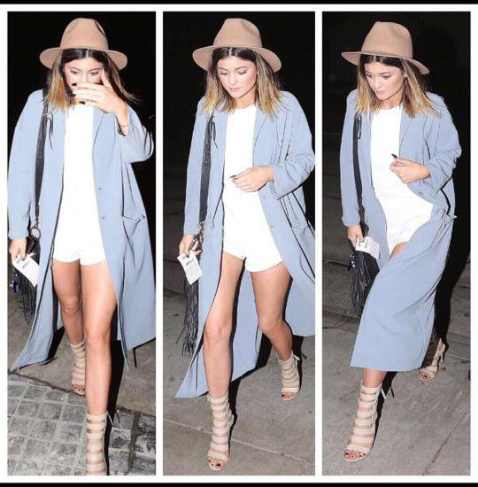 ASOS Duster Coat Grey Blue Seen On Kylie Jenner Bloggers Choice Size UK 12 Celeb