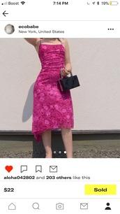 dress,pink,pink dress,pink summer dress,pink floral dress,pink floral,floral,floral dress,pink paisley dress,paisley,patterned dress,hot pink,dark pink,pattern,print,hot pink dress,beautiful,pretty,pretty pink,90s pink dress,90's dress,square neckline,rare,beautiful pink dress,rare pink dress,american vintage,lovely,elegant,pink dress summer spring,90s style,elegant dress