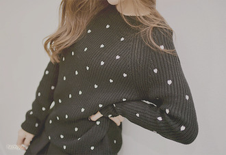 black sweater white polka heart
