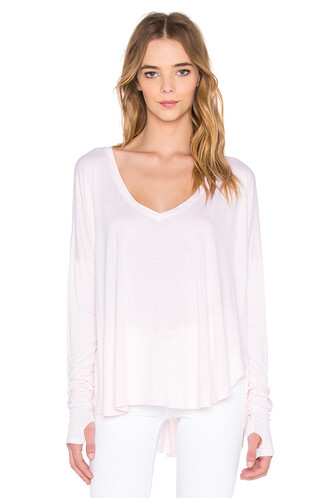 top long v neck pink