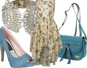 dress,flowers,birds,blue,spring outfits,spring summer 2014