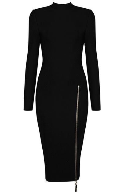 Long Sleeve Front Zipper Midi Bandage Dress Black