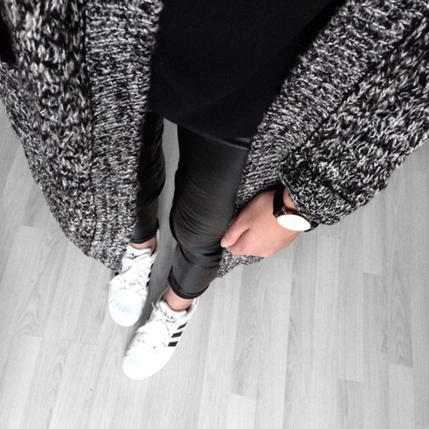 cardigan sweater sweatshirt knitwear fashion leather leggings leather adidas black and white oversized sweater