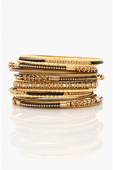 LoveMelrose.com From Harry & Molly | MULTI GLITZ BRACELET SET-GOLD-BLACK