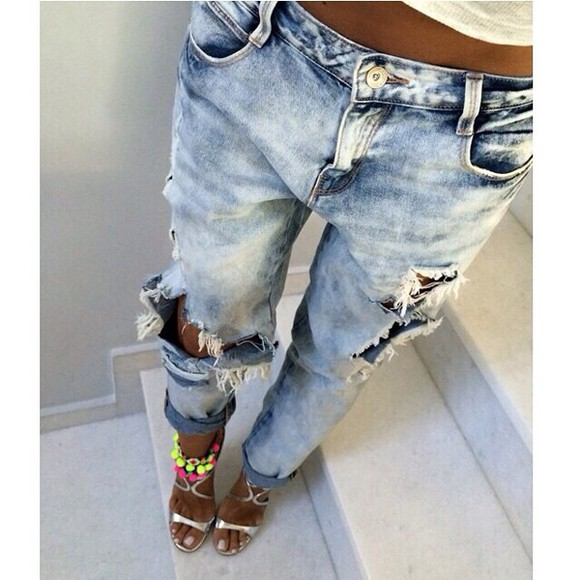 jeans distressed jeans boyfriend jeans shoes bleached jeans